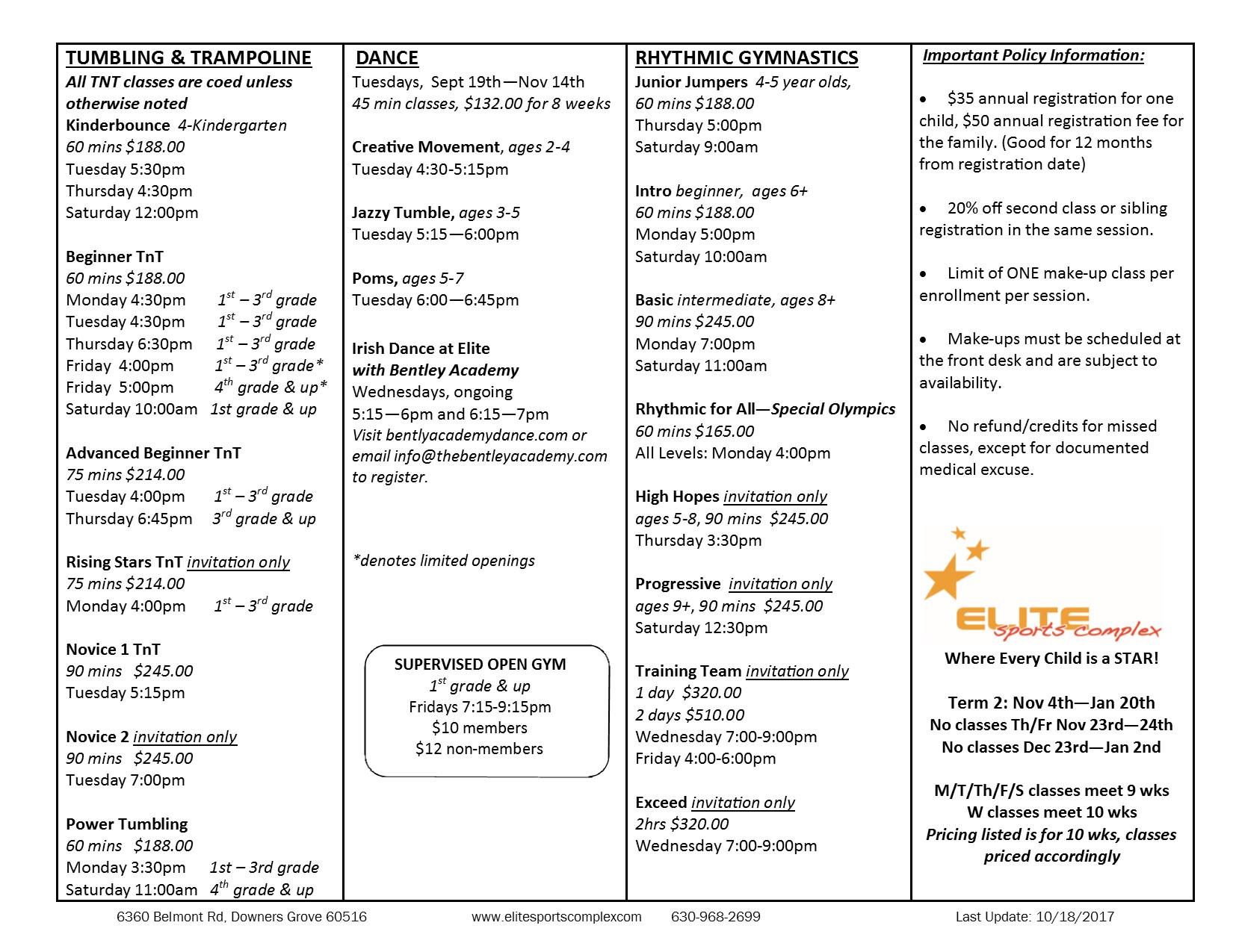 2017-18 Term 2 Class Schedule p1